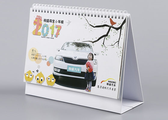 China Triangle Office Desk Calendar White Metal Y - O Binding With Pen Holder supplier