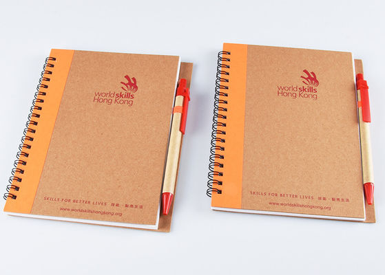 China Kraft Plain Soft Cover Notebook With Spiral / Y - O Binding And Ball Pen Set supplier