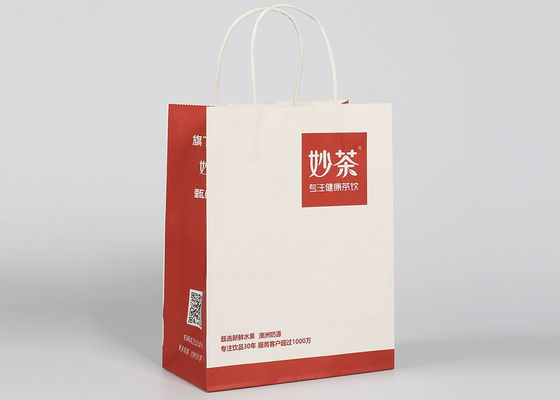 China Red Printed Decorative Bags , Custom Recycled Take Away Paper Shopping Bags factory