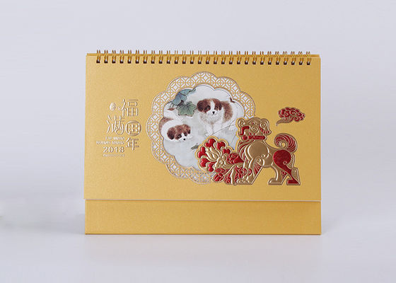 China Cute Classic Spiral Desk Calendar Art Paper Material And Gold Hot Foil Stamp distributor