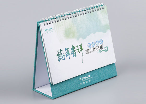 China White Metal Binding Office Desk Calendar Cmyk Full Color And Paper Printing distributor