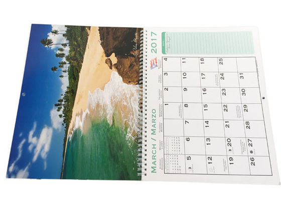 China Spiral Binding Hanging Art Paper Wall Calendars Full Color Printing For Company distributor