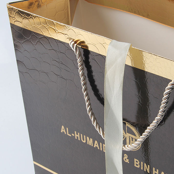 Luxury Glossy Black Gift Bags With Foil Hot Stamping And PP Rope Handle